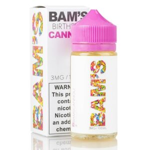 Bam's Cannoli Birthday brings you a special celebratory vape. It is everything a person could love about birthday cake toppings. First in our hearts is the perfect vanilla frosting that is both smooth and creamy with tasty whipped cream that comes with the inhale. Then in the exhale they have a surprise of power popping sprinkles. Soon the vaper who tries Birthday by Bam's Cannoli will be having a birthday party in their mouth all year round. It's the best gift.
